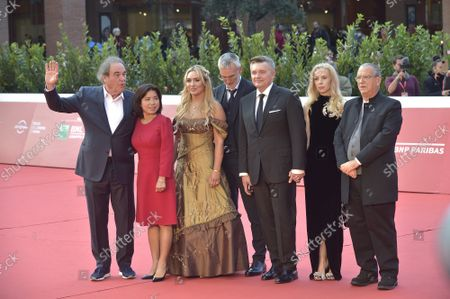 """Stock Picture of Oliver Stone, Sun-jung Jung, Vera Tomilova, gor Lopatonok, Igor Kobzev, guest, Carlo Siliotto attend the red carpet of the movie """"JFK - Destiny Betrayed"""" and """"Qazaq. History Of The Golden Man"""" during the 16th Rome Film Fest 2021 on October 20, 2021 in Rome, Italy."""