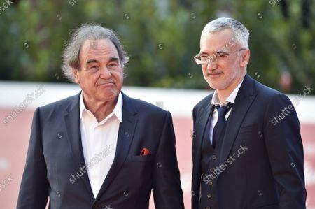 """Oliver Stone and Igor Lopatonok attend the red carpet of the movie """"JFK - Destiny Betrayed"""" and """"Qazaq. History Of The Golden Man"""" during the 16th Rome Film Fest 2021 on October 20, 2021 in Rome, Italy."""