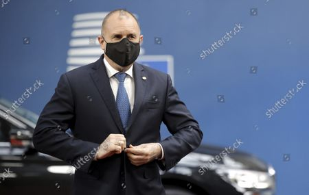 Bulgaria's Prime Minister Boyko Borissov arrives for an EU summit at the European Council building in Brussels, . European Union leaders will discuss issues including climate change, the energy crisis, COVID-19 developments and migration
