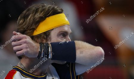 Andrey Rublev of Russia reacts during the men's second round match against Adrian Mannarino of France at the Kremlin Cup tennis tournament in Moscow, Russia, 21 October 2021.
