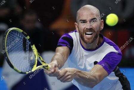 Adrian Mannarino of France in action during the men's second round match against Andrey Rublev of Russia  at the Kremlin Cup tennis tournament in Moscow, Russia, 21 October 2021.