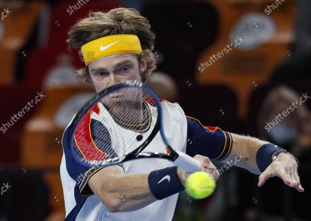 Andrey Rublev of Russia in action during the men's second round match against Adrian Mannarino of France at the Kremlin Cup tennis tournament in Moscow, Russia, 21 October 2021.
