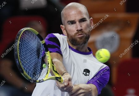 Stock Picture of Adrian Mannarino of France in action during the men's second round match against Andrey Rublev of Russia  at the Kremlin Cup tennis tournament in Moscow, Russia, 21 October 2021.