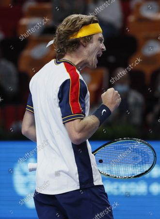 Stock Image of Andrey Rublev of Russia reacts during the men's second round match against Adrian Mannarino of France at the Kremlin Cup tennis tournament in Moscow, Russia, 21 October 2021.