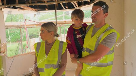Stock Picture of Billie Faiers and Greg Shepherd with Arthur.