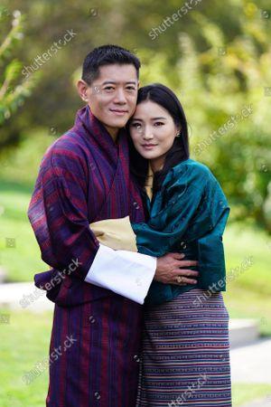 Stock Image of King Jigme Khesar Namgyel Wangchuck and Queen Jetsun Pema Wangchuck taken at Lingkana Palace to mark the 10th Anniversary of the Royal Wedding.