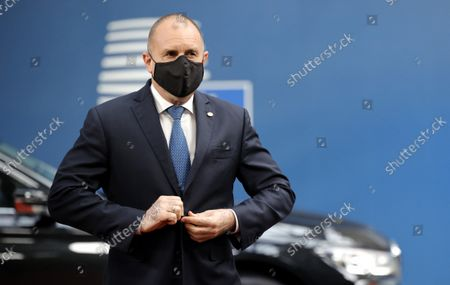 Stock Picture of Bulgaria's Prime Minister Boyko Borissov arrives for an EU summit at the European Council building in Brussels, Belgium, 21 October 2021. European Union leaders will discuss issues including climate change, the energy crisis, COVID-19 developments and migration.