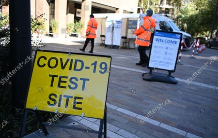 A Covid-19 PCR test centre in London, Britain, 21 October, 2021. The UK government is under pressure to implement its Covid Plan B as figures have shown that England is recording some fifty thousand Covid-19 cases daily, the highest number since mid-July.