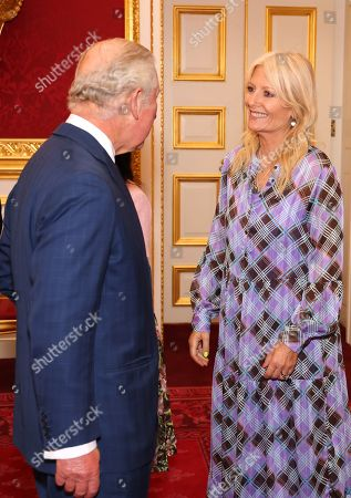 Prince Charles and Gaby Roslin during the Prince's Trust Awards Trophy Ceremony at St James Palace on October 21, 2021 in London, England. The Prince's Trust Awards recognize young people who have succeeded against the odds, improved their chances in life and had a positive impact on their local community.