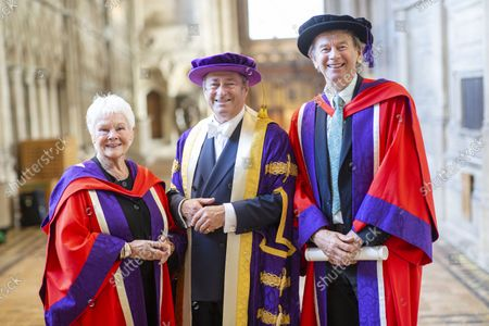 Chancellor of Winchester University Alan Titchmarsh pictured with Judi Dench who received an Honorary Doctorate Degree in 2019 and Historian Michael Wood who received an Honorary Doctorate today