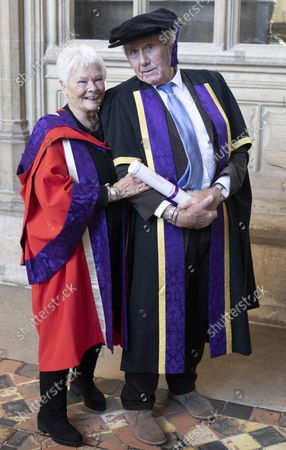 David Mills who received an Honorary Fellowship from the University of Winchester was joined by his partner Judi Dench, who received an Honorary Doctorate in 2019 also from Winchester University, at the ceremony at Winchester Cathedral today.
