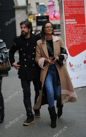 Stock Picture of Juliana Moreira and her husband Edoardo Stoppa arrive in the center together to attend the LILT event, for the fight against breast cancer, and allow themselves to take some photos, posing in front of the section that concerns them.