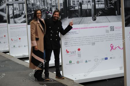 Stock Image of Juliana Moreira and her husband Edoardo Stoppa arrive in the center together to attend the LILT event, for the fight against breast cancer, and allow themselves to take some photos, posing in front of the section that concerns them.