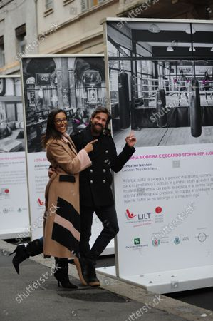 Stock Photo of Juliana Moreira and her husband Edoardo Stoppa arrive in the center together to attend the LILT event, for the fight against breast cancer, and allow themselves to take some photos, posing in front of the section that concerns them.