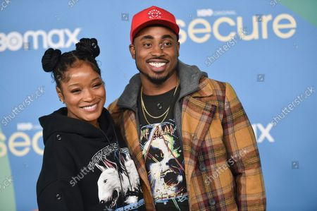 """Keke Palmer, left, and Richard Nevels arrive at the LA premiere of """"Insecure"""" season five, at Kenneth Hahn Park in Los Angeles"""