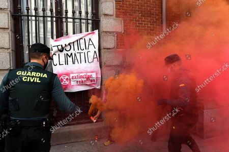 Editorial picture of Extinction Rebellion Activists Chain Themselves To Fence In Latest Protest In The Ministry Of Foreign Affairs In Madrid, Spain - 21 Oct 2021