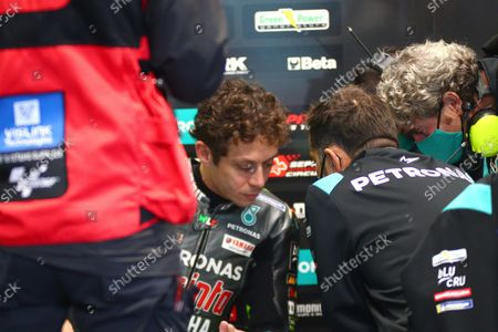 Valentino Rossi of Petronas Yamaha SRT in the pits during the first practice session for the Motorcycling Grand Prix of Italy and Emilia-Romagna at Misano World Circuit 'Marco Simoncelli' at Misano Adriatico, Rivieria di Rimini, Italy, 22 October 2021. The Motorcycling Grand Prix of Italy and Emilia-Romagna takes place on 24 October 2021.