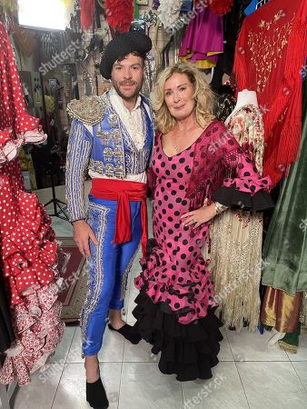 Ep2 - Wednesday 27th October 2021  Pictured: Jordan North and Beverley Callard try traditional Spanish dress in Madrid.