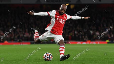 Alexandre Lacazette of Arsenal in action during the English Premier League match between Arsenal London and Aston Villa in London, Britain, 22 October 2021.