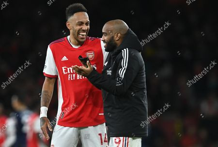 Pierre-Emerick Aubameyang of Arsenal and team mate Alexandre Lacazette (R) celebrate after after the English Premier League match between Arsenal London and Aston Villa in London, Britain, 22 October 2021.