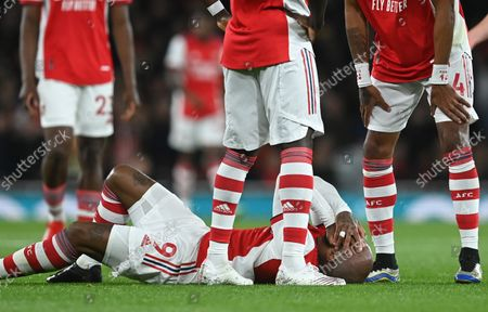 Alexandre Lacazette of Arsenal reacts during the English Premier League match between Arsenal London and Aston Villa in London, Britain, 22 October 2021.