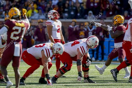 Stock Photo of Nebraska quarterback Adrian Martinez (2) rects to a penalty call in an NCAA college football game with Minnesota, in Minneapolis