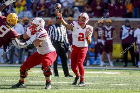 Nebraska quarterback Adrian Martinez (2) passes against Minnesota in an NCAA college football game, in Minneapolis
