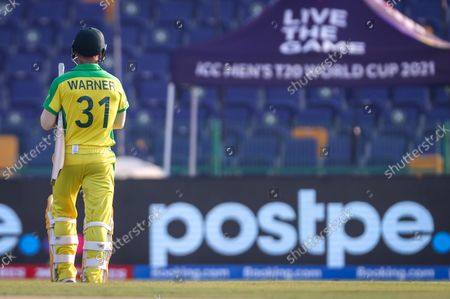 Australia's David Warner reacts as he walks off the ground after being dismissed during the ICC Men's T20 World Cup cricket match between Australia and South Africa at Sheikh Zayed Cricket Stadium in Abu Dhabi, UAE, 23 October 2021.