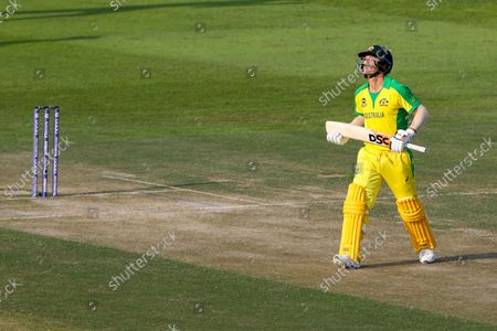 Stock Photo of Australia's David Warner reacts after he was dismissed during the Cricket Twenty20 World Cup match between South Africa and Australia in Abu Dhabi, UAE