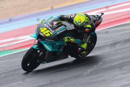 Italian MotoGP rider Valentino Rossi of Petronas Yamaha SRT in action during the third free practice session for the Motorcycling Grand Prix of Italy and Emilia-Romagna at Misano World Circuit 'Marco Simoncelli' at Misano Adriatico, Rivieria di Rimini, Italy, 23 October 2021. The Motorcycling Grand Prix of Italy and Emilia-Romagna takes place on 24 October 2021.