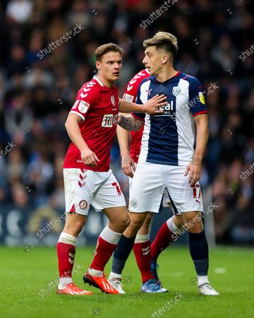 Stock Image of Cameron Pring of Bristol City and Jordan Hugill of West Bromwich Albion