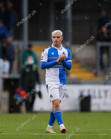 Luke Thomas of Bristol Rovers applauds the fans after the final whistle- Mandatory by-line: Will Cooper/JMP