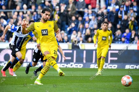 Stock Photo of Dortmund's Emre Can scores the 1-0 lead from the penalty spot during the German Bundesliga soccer match between DSC Arminia Bielefeld and Borussia Dortmund in Bielefeld, Germany, 23 October 2021.