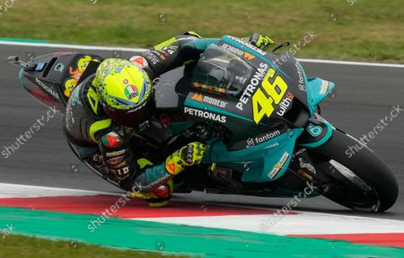 Italy's Valentino Rossi rides his Yamaha during the MotoGP qualifying session for Sunday's Emilia Romagna Motorcycle Grand Prix at the Misano circuit in Misano Adriatico, Italy