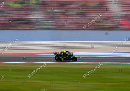 Stock Photo of Italy's Valentino Rossi rides his Yamaha during the MotoGP practice session for Sunday's Emilia Romagna Motorcycle Grand Prix at the Misano circuit in Misano Adriatico, Italy