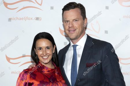 """Stock Image of Christina Geist and Willie Geist attend """"A Funny Thing Happened on the Way to Cure Parkinson's"""" gala benefiting The Michael J. Fox Foundation for Parkinson's Research at Jazz at Lincoln Center Frederick P. Rose Hall, in New York"""