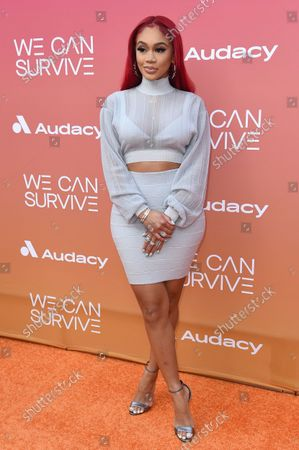 """Saweetie arrives at the Eighth annual """"We Can Survive"""" Concert, at the Hollywood Bowl in Los Angeles"""