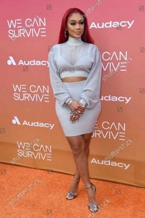 """Stock Photo of Saweetie arrives at the Eighth annual """"We Can Survive"""" Concert, at the Hollywood Bowl in Los Angeles"""
