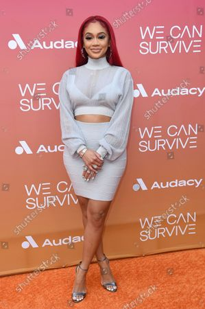"""Stock Picture of Saweetie arrives at the 8th annual """"We Can Survive"""" Concert, at the Hollywood Bowl in Los Angeles"""