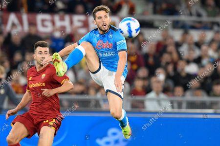 Stock Photo of Dries Mertens of SSC Napoli and Stephan El Shaarawy of As Roma; Stadio Olimpico, Rome, Italy; Serie A football Roma v Napoli.