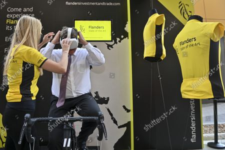 Victor Campenaerts and Flemish Minister President Jan Jambon pictured during a visit to the Flemish Week at the Expo 2020 in Dubai, United Arab Emerates on Sunday 24 October 2021. The Flanders region of Belgium is hosting a week of events at the World Expo.