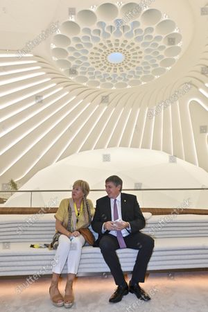 Flemish Minister President Jan Jambon and his wife An Gilops pictured at the UAE's pavilion during a visit to the Flemish Week at the Expo 2020 in Dubai, United Arab Emerates on Sunday 24 October 2021. The Flanders region of Belgium is hosting a week of events at the World Expo.