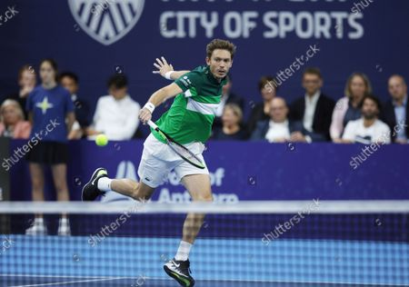 France's Nicolas Mahut makes a return during a men's doubles final match against Netherland's Wesley Koolhof and Jean-Julien Rojer at the European Open tennis tournament in Antwerp, Belgium