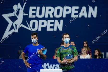 Dutch Jean-Julien Rojer and Dutch Wesley Koolhof pictured after a doubles men game between Dutch pair Koolhof - Rojer and French Mahut - Martin, the finals of the European Open Tennis ATP tournament, in Antwerp, Sunday 24 October 2021.