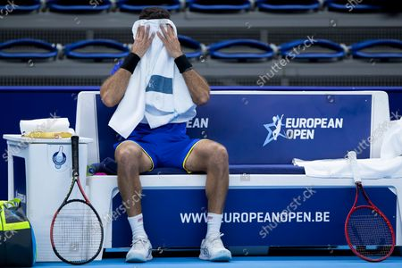 Dutch Jean-Julien Rojer pictured during a doubles men game between Dutch pair Koolhof - Rojer and French Mahut - Martin, the finals of the European Open Tennis ATP tournament, in Antwerp, Sunday 24 October 2021.