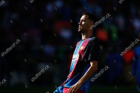 Sergio Busquets of FC Barcelona looks on during the spanish league, La Liga Santander, football match played between FC Barcelona and Real Madrid at Camp Nou stadium on October 24, 2021, in Barcelona, Spain.