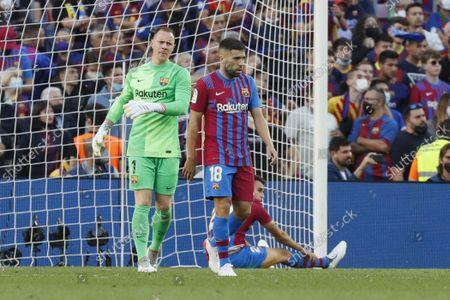 Marc-Andre ter Stegen (1 FC Barcelona) and Jordi Alba (18 FC Barcelona) disappointment during, LaLiga Santander match between Barcelona and R.Madrid at Camp nou stadium in Barcelona, Spain.