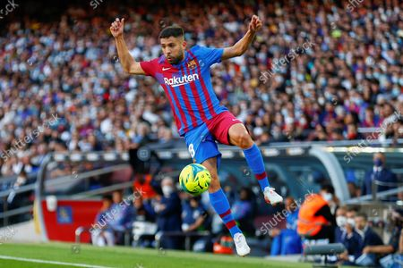 FC Barcelona's defender Jordi Alba controls the ball during the Spanish LaLiga soccer match between FC Barcelona and Real Madrid at Camp Nou stadium in Barcelona, Catalonia, Spain, 24 October 2021.
