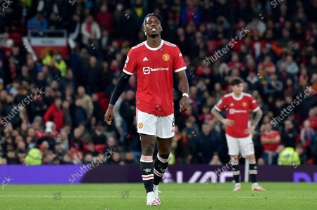 Stock Picture of Manchester United's Paul Pogba leaves the pitch after being shown a red card during the English Premier League soccer match between Manchester United and Liverpool at Old Trafford in Manchester, England