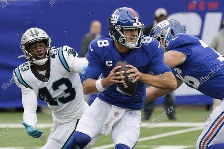 Carolina Panthers outside linebacker Haason Reddick (43) pressures New York Giants quarterback Daniel Jones (8) during the second half of an NFL football game, in East Rutherford, N.J